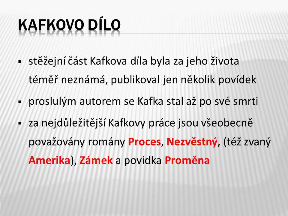  stěžejní část Kafkova díla byla za jeho života téměř neznámá, publikoval jen několik povídek  proslulým autorem se Kafka stal až po své smrti  za