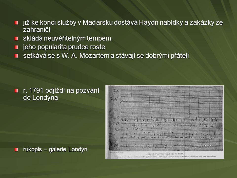 již ke konci služby v Maďarsku dostává Haydn nabídky a zakázky ze zahraničí skládá neuvěřitelným tempem jeho popularita prudce roste setkává se s W. A