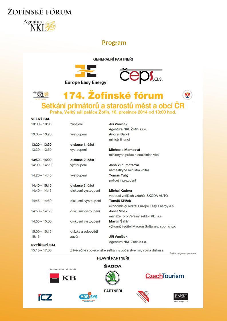 O čem se hovořilo…..174. Žofínské fórum, které připravila Agentura NKL Žofín s.