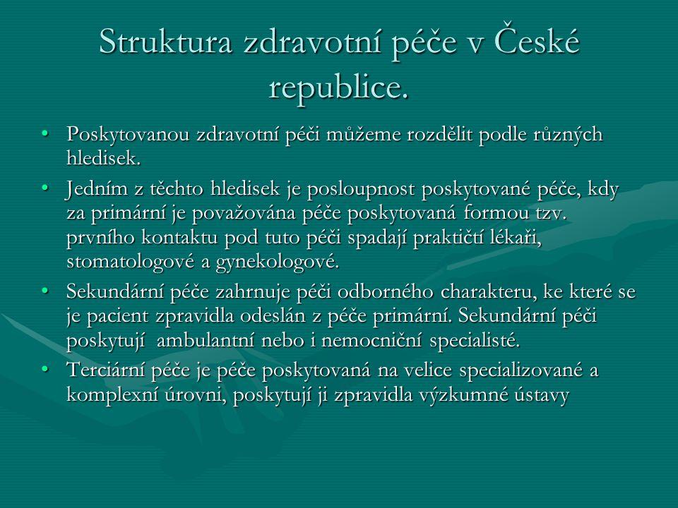 Struktura zdravotní péče v České republice. Poskytovanou zdravotní péči můžeme rozdělit podle různých hledisek.Poskytovanou zdravotní péči můžeme rozd