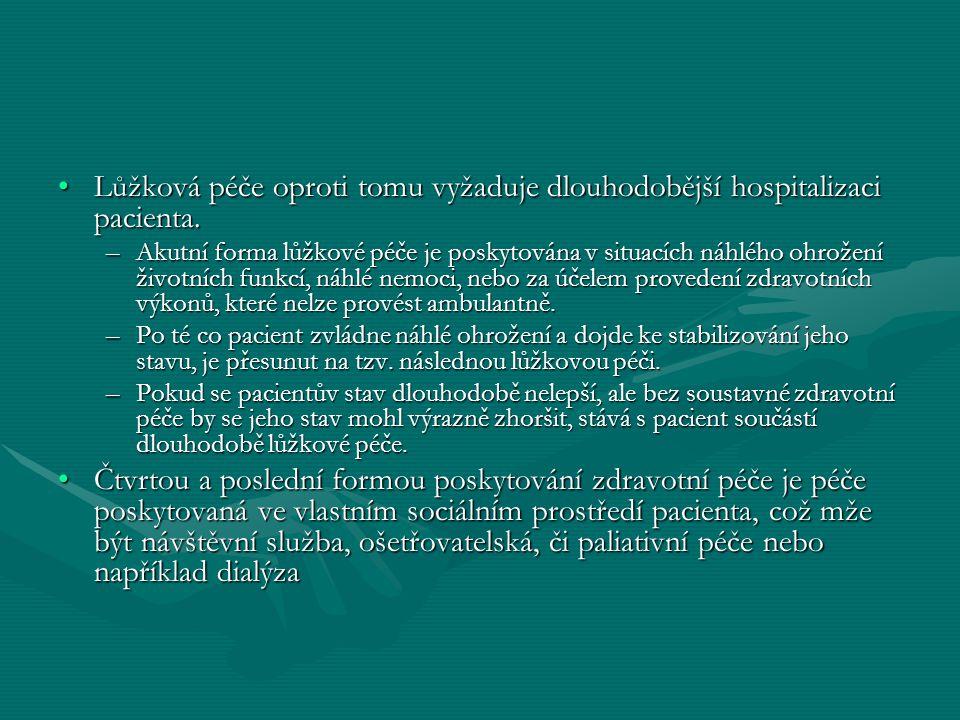 Lůžková péče oproti tomu vyžaduje dlouhodobější hospitalizaci pacienta.Lůžková péče oproti tomu vyžaduje dlouhodobější hospitalizaci pacienta. –Akutní