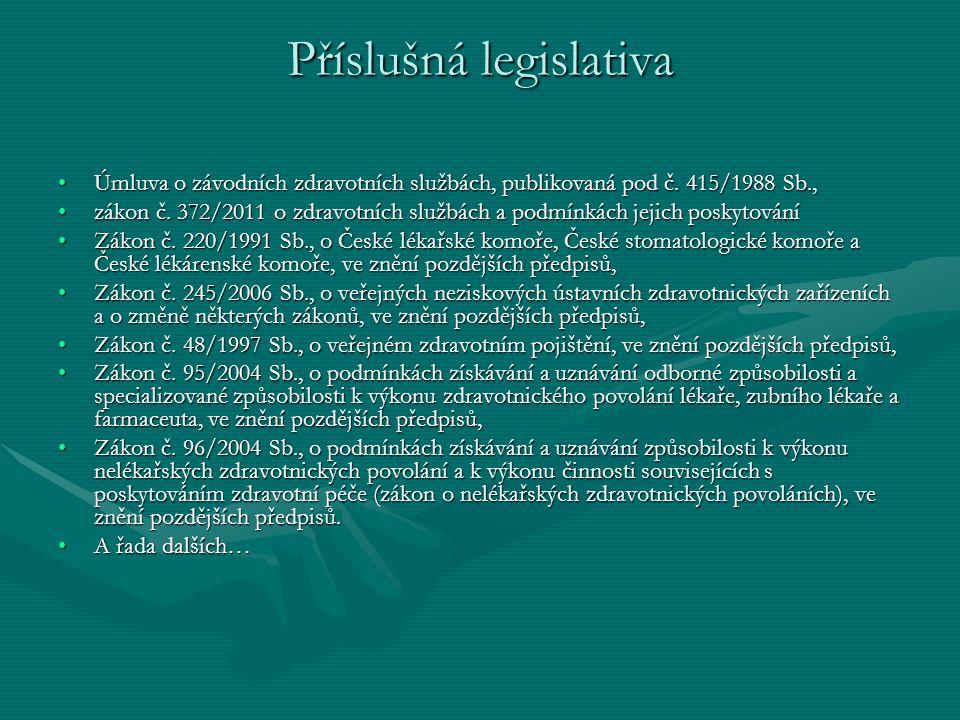Příslušná legislativa Úmluva o závodních zdravotních službách, publikovaná pod č. 415/1988 Sb.,Úmluva o závodních zdravotních službách, publikovaná po