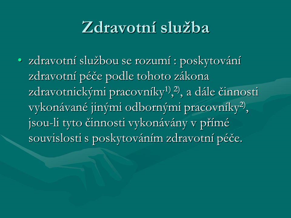 Zdravotní péče a)soubor činností a opatření prováděných u fyzických osob za účelem :a)soubor činností a opatření prováděných u fyzických osob za účelem : –1.