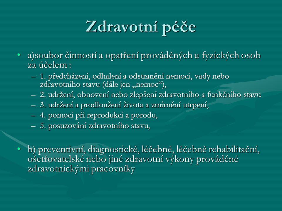 Struktura zdravotní péče v České republice.