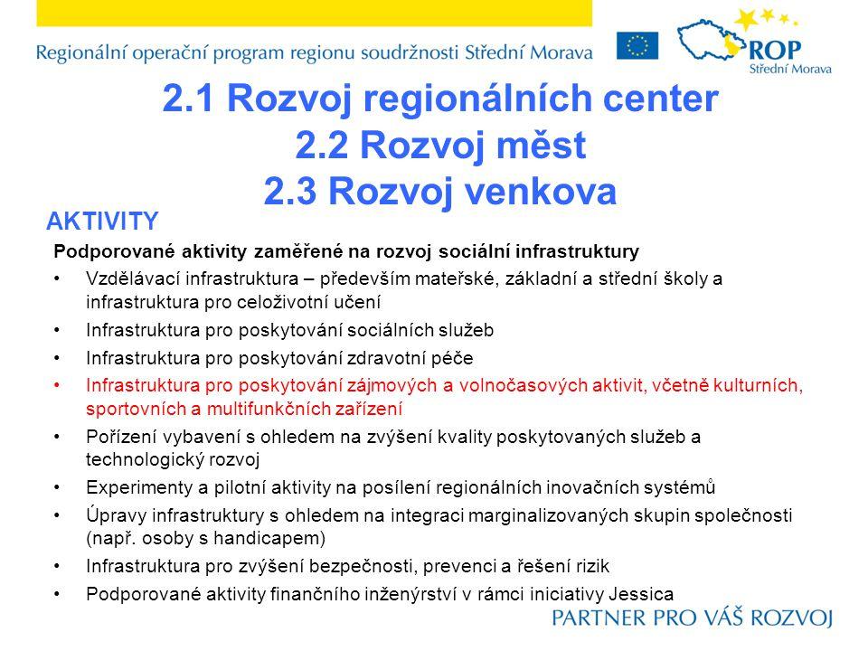 2.1 Rozvoj regionálních center Olomouc a Zlín (předkladatelé IPRM) ostatní subjekty, jejichž individuální projekt je součástí schváleného IPRM PŘÍJEMCI
