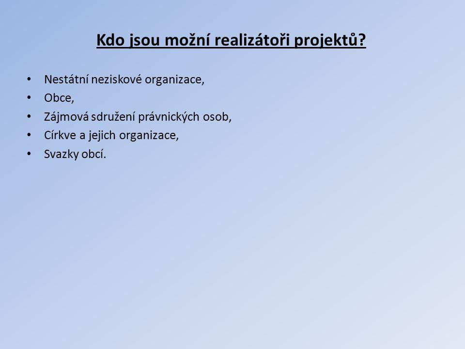 Kdo jsou možní realizátoři projektů? Nestátní neziskové organizace, Obce, Zájmová sdružení právnických osob, Církve a jejich organizace, Svazky obcí.