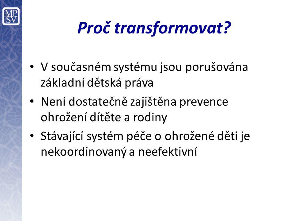 Financování transformace Transformace přinese zejména náklady na zajištění přechodného období (tzv.