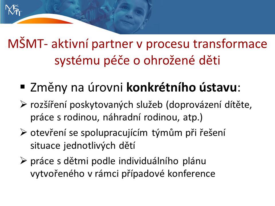 MŠMT- aktivní partner v procesu transformace systému péče o ohrožené děti  Změny na úrovni konkrétního ústavu:  rozšíření poskytovaných služeb (doprovázení dítěte, práce s rodinou, náhradní rodinou, atp.)  otevření se spolupracujícím týmům při řešení situace jednotlivých dětí  práce s dětmi podle individuálního plánu vytvořeného v rámci případové konference