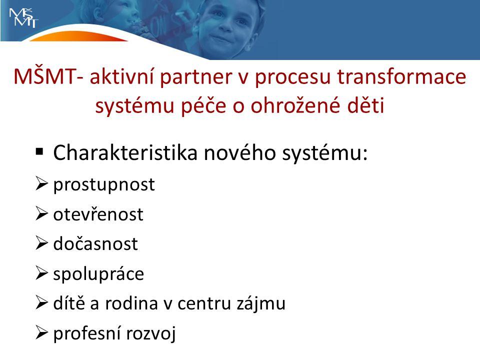 MŠMT- aktivní partner v procesu transformace systému péče o ohrožené děti  Charakteristika nového systému:  prostupnost  otevřenost  dočasnost  spolupráce  dítě a rodina v centru zájmu  profesní rozvoj