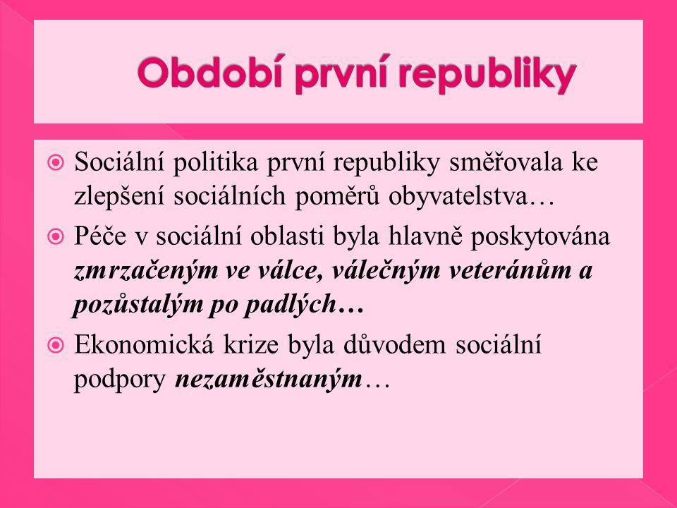  Sociální politika první republiky směřovala ke zlepšení sociálních poměrů obyvatelstva…  Péče v sociální oblasti byla hlavně poskytována zmrzačeným ve válce, válečným veteránům a pozůstalým po padlých…  Ekonomická krize byla důvodem sociální podpory nezaměstnaným…