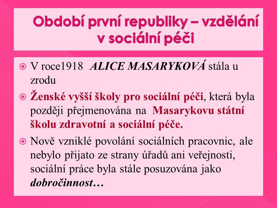  V roce1918 ALICE MASARYKOVÁ stála u zrodu  Ženské vyšší školy pro sociální péči, která byla později přejmenována na Masarykovu státní školu zdravotní a sociální péče.