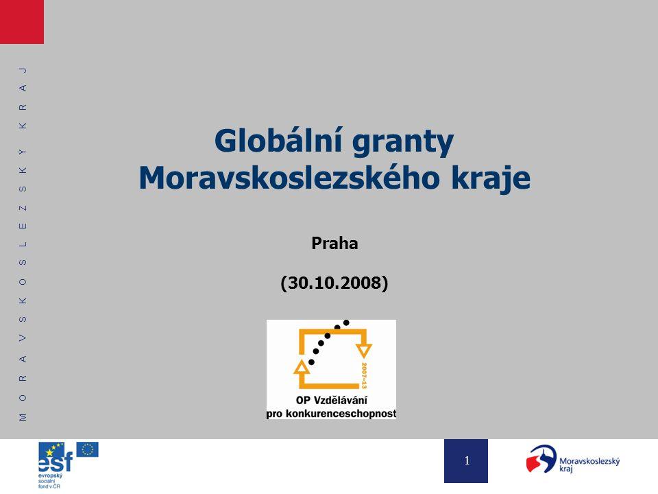 M O R A V S K O S L E Z S K Ý K R A J 1 Globální granty Moravskoslezského kraje Praha (30.10.2008)