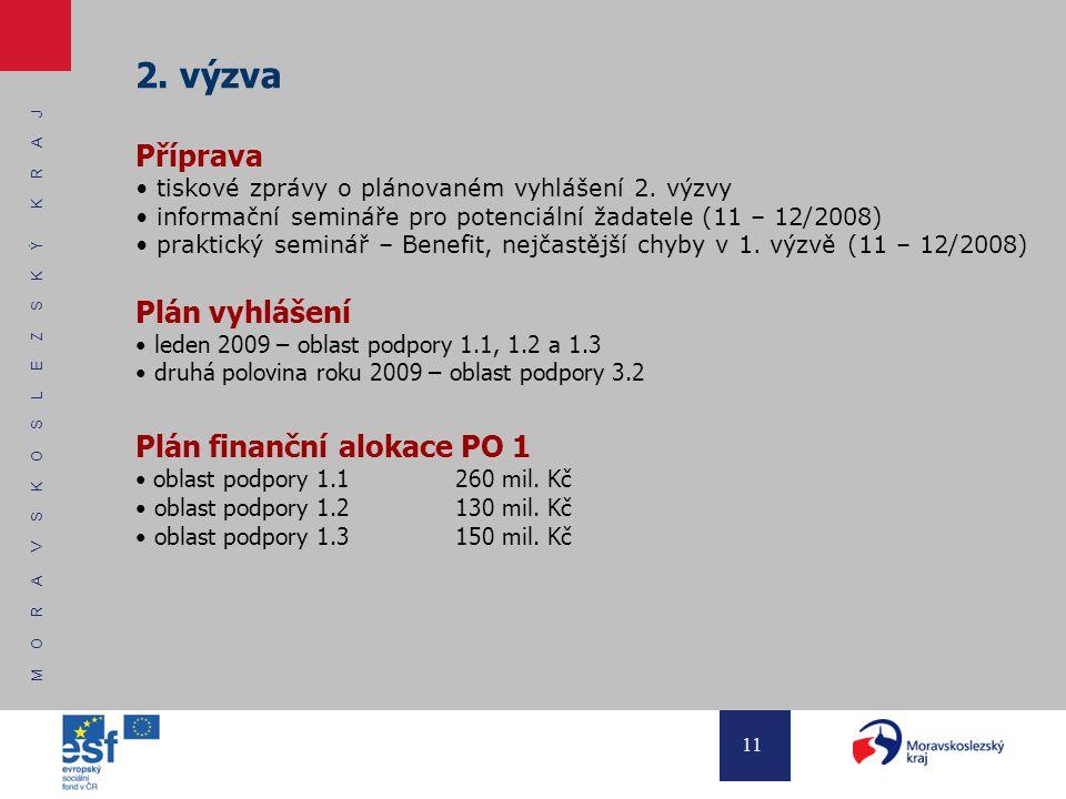 M O R A V S K O S L E Z S K Ý K R A J 11 2. výzva Příprava tiskové zprávy o plánovaném vyhlášení 2.