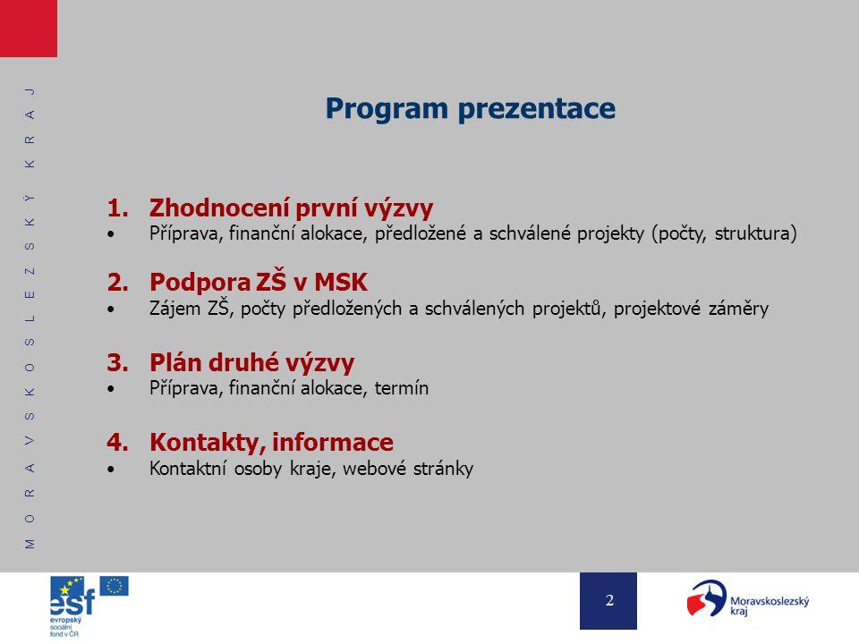 M O R A V S K O S L E Z S K Ý K R A J 2 Program prezentace 1.Zhodnocení první výzvy Příprava, finanční alokace, předložené a schválené projekty (počty