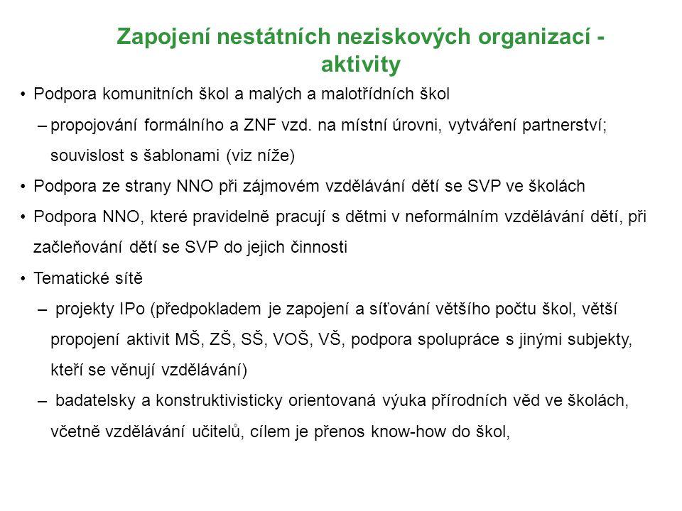 Zapojení nestátních neziskových organizací - aktivity Podpora komunitních škol a malých a malotřídních škol –propojování formálního a ZNF vzd. na míst