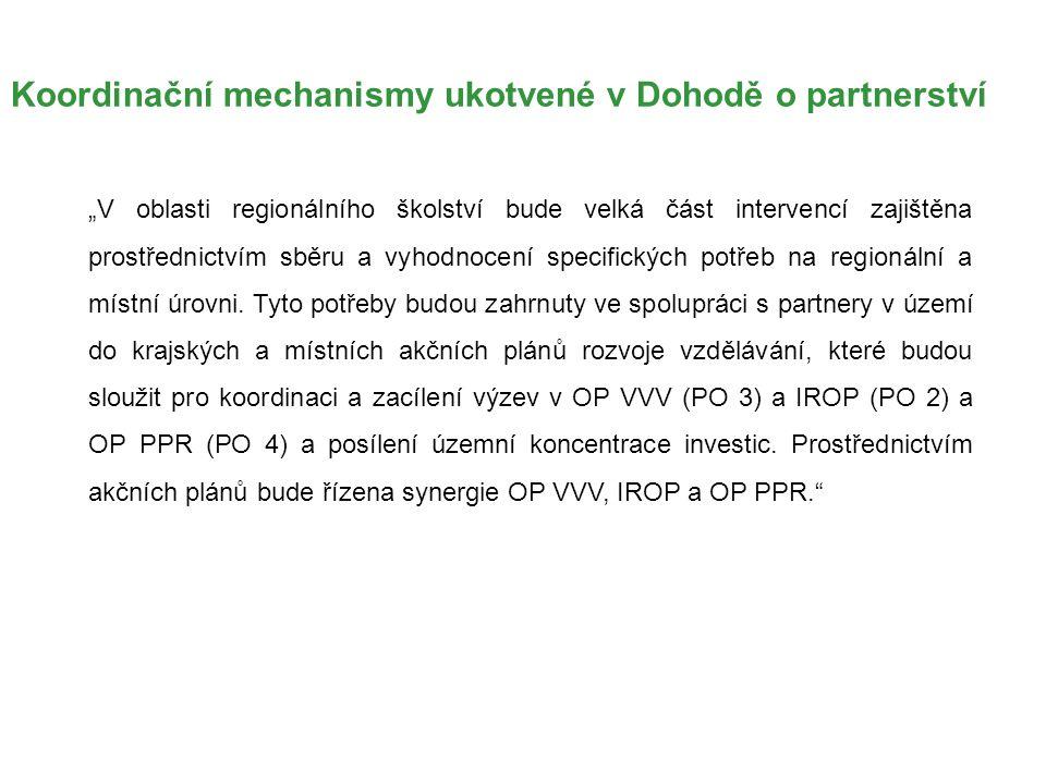 """Koordinační mechanismy ukotvené v Dohodě o partnerství """"V oblasti regionálního školství bude velká část intervencí zajištěna prostřednictvím sběru a v"""