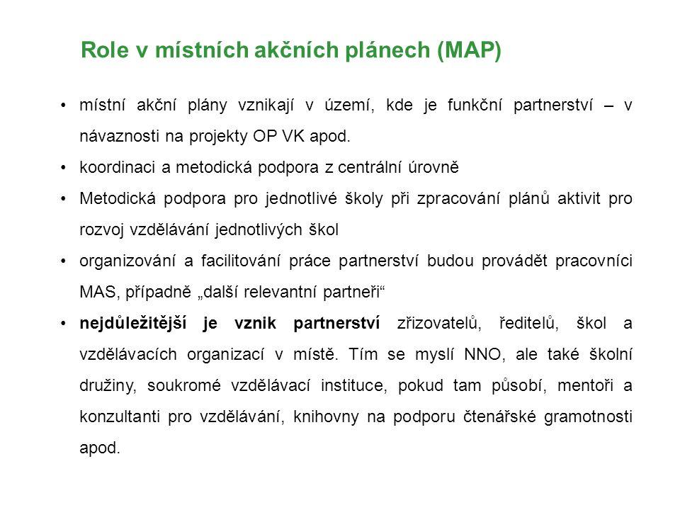 Role v místních akčních plánech (MAP) místní akční plány vznikají v území, kde je funkční partnerství – v návaznosti na projekty OP VK apod. koordinac