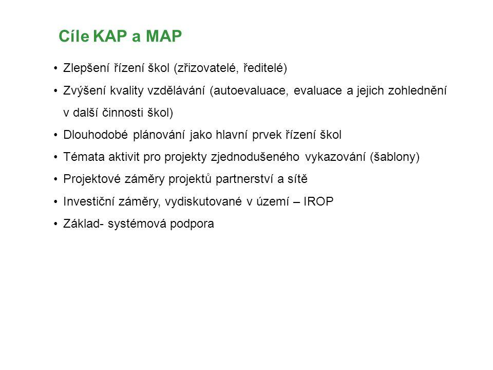Cíle KAP a MAP Zlepšení řízení škol (zřizovatelé, ředitelé) Zvýšení kvality vzdělávání (autoevaluace, evaluace a jejich zohlednění v další činnosti šk