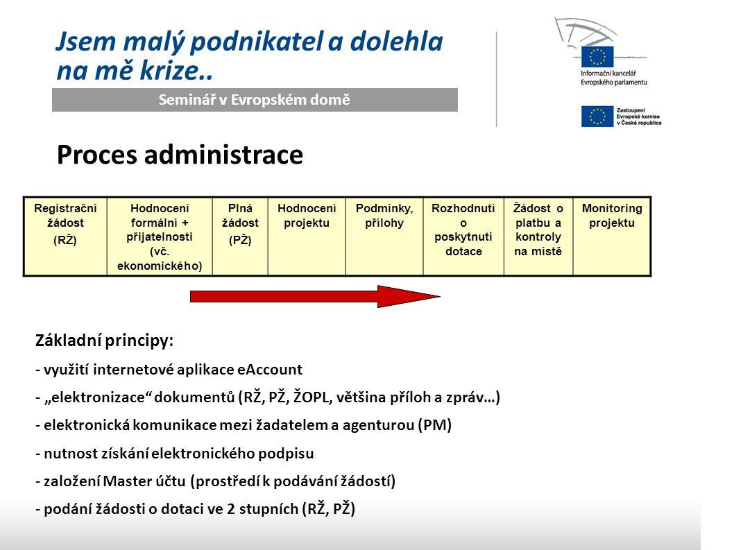 Seminář v Evropském domě Jsem malý podnikatel a dolehla na mě krize.. Proces administrace Registrační žádost (RŽ) Hodnocení formální + přijatelnosti (