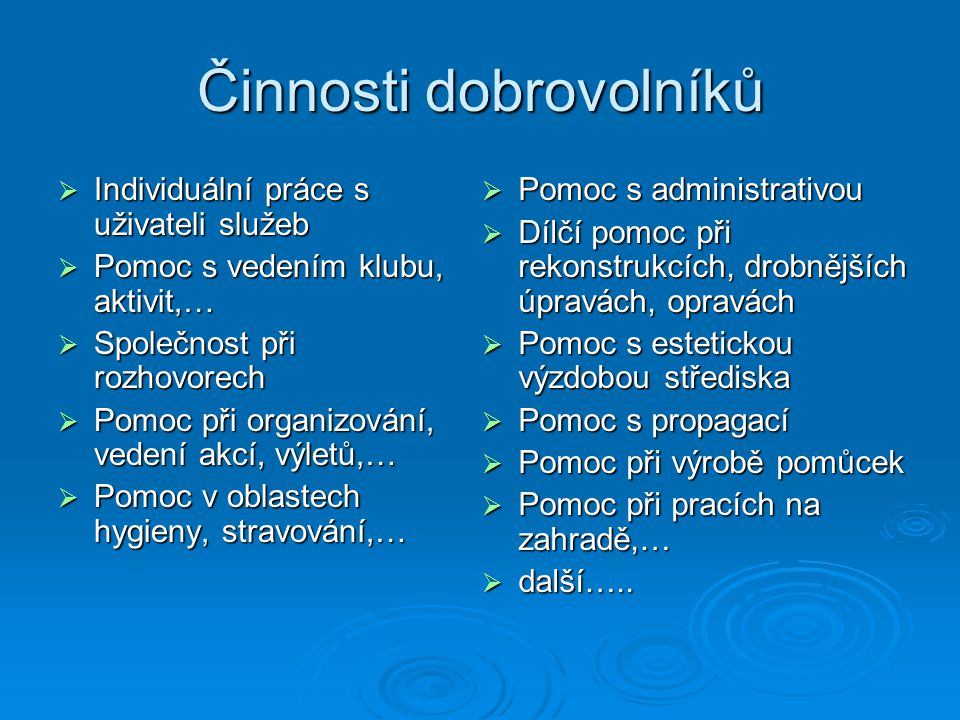 Benjamín, denní stacionář  Posláním denního stacionáře Benjamín v Krnově je podpořit dospělé lidi s mentálním a kombinovaným postižením v aktivním prožívání dne mezi svými vrstevníky.
