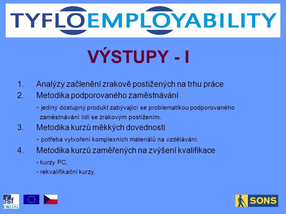 VÝSTUPY - I 1.Analýzy začlenění zrakově postižených na trhu práce 2.Metodika podporovaného zaměstnávání - jediný dostupný produkt zabývající se problematikou podporovaného zaměstnávání lidí se zrakovým postižením.