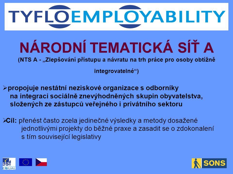 """NÁRODNÍ TEMATICKÁ SÍŤ A (NTS A - """"Zlepšování přístupu a návratu na trh práce pro osoby obtížně integrovatelné"""")  propojuje nestátní neziskové organiz"""