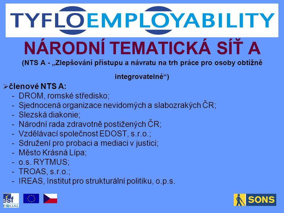 """NÁRODNÍ TEMATICKÁ SÍŤ A (NTS A - """"Zlepšování přístupu a návratu na trh práce pro osoby obtížně integrovatelné"""")  členové NTS A: - DROM, romské středi"""