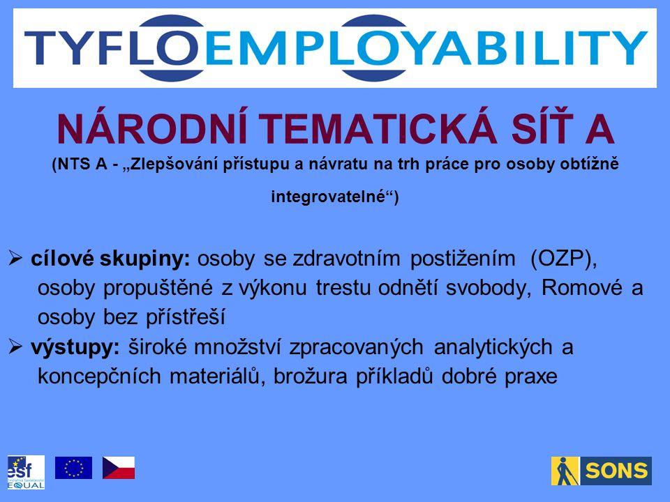 """NÁRODNÍ TEMATICKÁ SÍŤ A (NTS A - """"Zlepšování přístupu a návratu na trh práce pro osoby obtížně integrovatelné"""")  cílové skupiny: osoby se zdravotním"""