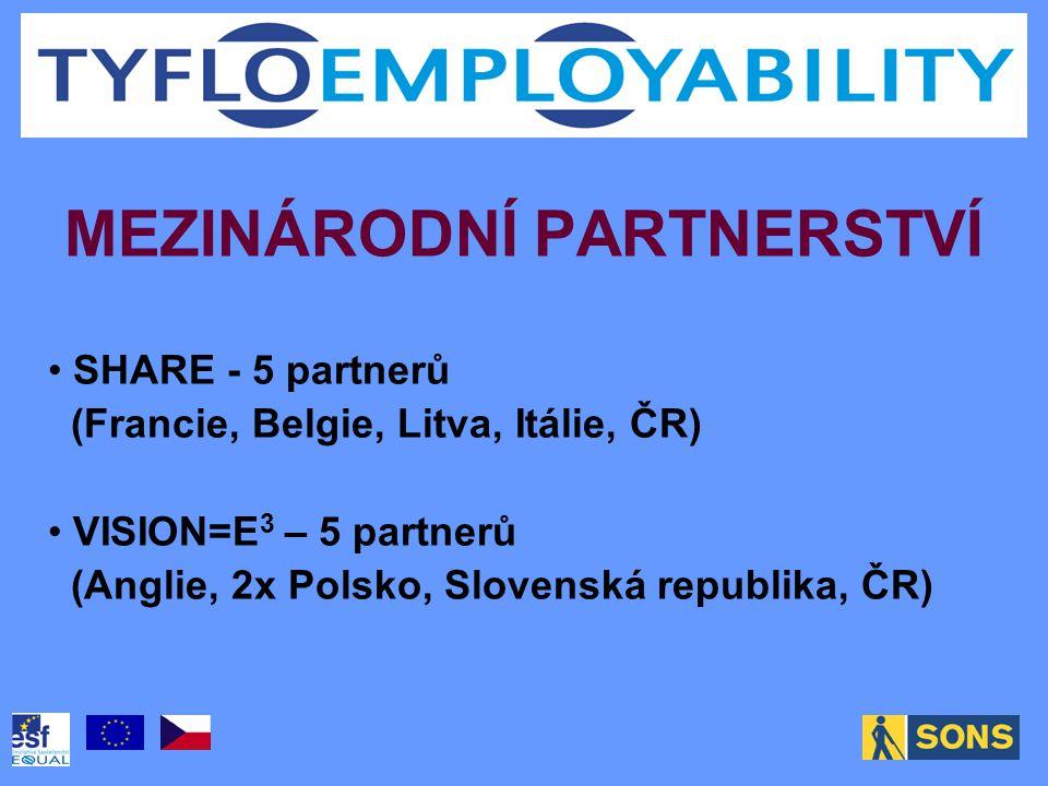 MEZINÁRODNÍ PARTNERSTVÍ SHARE - 5 partnerů (Francie, Belgie, Litva, Itálie, ČR) VISION=E 3 – 5 partnerů (Anglie, 2x Polsko, Slovenská republika, ČR)
