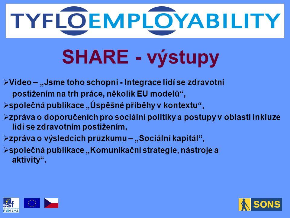 """SHARE - výstupy  Video – """"Jsme toho schopni - Integrace lidí se zdravotní postižením na trh práce, několik EU modelů ,  společná publikace """"Úspěšné příběhy v kontextu ,  zpráva o doporučeních pro sociální politiky a postupy v oblasti inkluze lidí se zdravotním postižením,  zpráva o výsledcích průzkumu – """"Sociální kapitál ,  společná publikace """"Komunikační strategie, nástroje a aktivity ."""