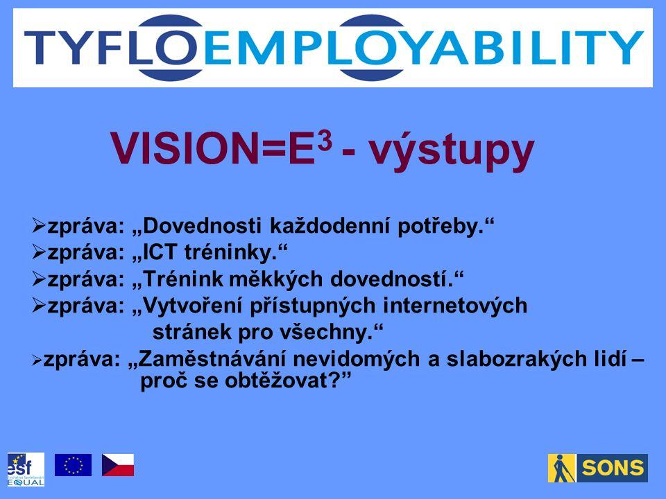 """VISION=E 3 - výstupy  zpráva: """"Dovednosti každodenní potřeby.  zpráva: """"ICT tréninky.  zpráva: """"Trénink měkkých dovedností.  zpráva: """"Vytvoření přístupných internetových stránek pro všechny.  zpráva: """"Zaměstnávání nevidomých a slabozrakých lidí – proč se obtěžovat"""