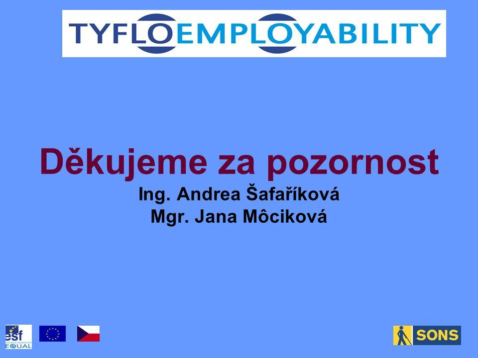 Děkujeme za pozornost Ing. Andrea Šafaříková Mgr. Jana Môciková