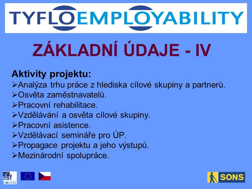 ZÁKLADNÍ ÚDAJE - IV Aktivity projektu:  Analýza trhu práce z hlediska cílové skupiny a partnerů.  Osvěta zaměstnavatelů.  Pracovní rehabilitace. 