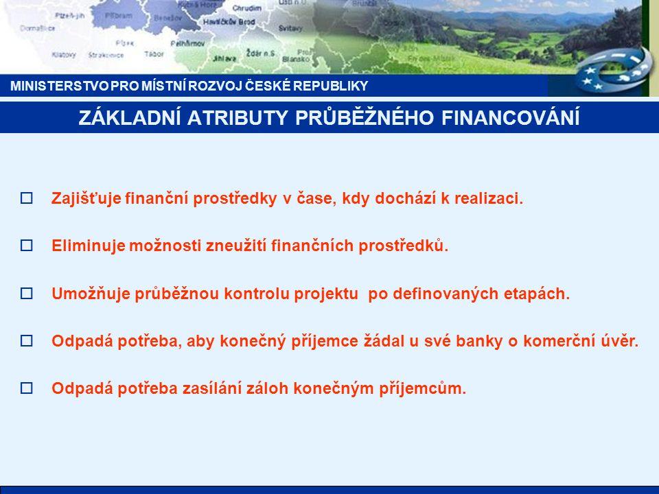 MINISTERSTVO PRO MÍSTNÍ ROZVOJ ČESKÉ REPUBLIKY  Zajišťuje finanční prostředky v čase, kdy dochází k realizaci.  Eliminuje možnosti zneužití finanční