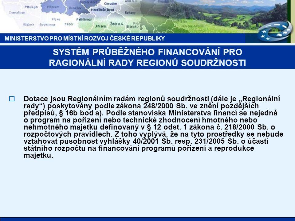 """MINISTERSTVO PRO MÍSTNÍ ROZVOJ ČESKÉ REPUBLIKY  Dotace jsou Regionálním radám regionů soudržnosti (dále je """"Regionální rady"""") poskytovány podle zákon"""