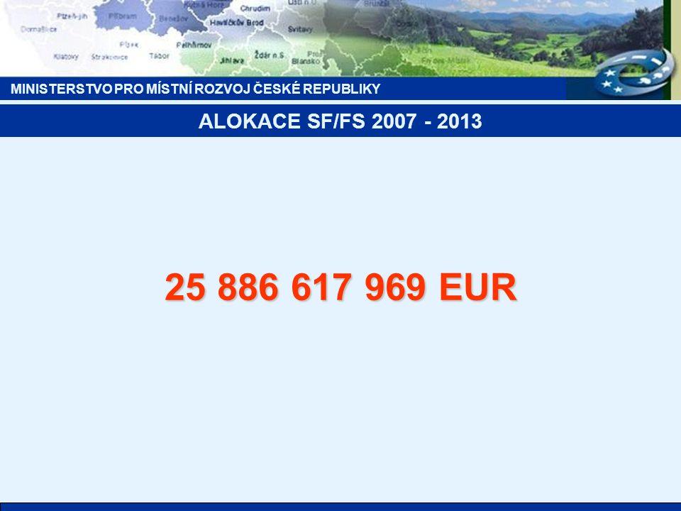 MINISTERSTVO PRO MÍSTNÍ ROZVOJ ČESKÉ REPUBLIKY ALOKACE SF/FS 2007 - 2013 25 886 617 969 EUR
