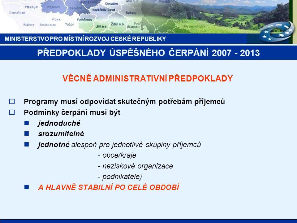 MINISTERSTVO PRO MÍSTNÍ ROZVOJ ČESKÉ REPUBLIKY PŘEDPOKLADY ÚSPĚŠNÉHO ČERPÁNÍ 2007 - 2013 VĚCNĚ ADMINISTRATIVNÍ PŘEDPOKLADY  Programy musí odpovídat s