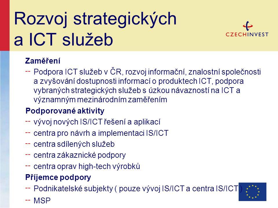 Rozvoj strategických a ICT služeb Zaměření ╌ Podpora ICT služeb v ČR, rozvoj informační, znalostní společnosti a zvyšování dostupnosti informací o produktech ICT, podpora vybraných strategických služeb s úzkou návazností na ICT a významným mezinárodním zaměřením Podporované aktivity ╌ vývoj nových IS/ICT řešení a aplikací ╌ centra pro návrh a implementaci IS/ICT ╌ centra sdílených služeb ╌ centra zákaznické podpory ╌ centra oprav high-tech výrobků Příjemce podpory ╌ Podnikatelské subjekty ( pouze vývoj IS/ICT a centra IS/ICT ) ╌ MSP