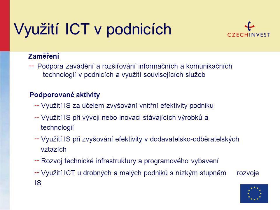Využití ICT v podnicích Zaměření ╌ Podpora zavádění a rozšiřování informačních a komunikačních technologií v podnicích a využití souvisejících služeb Podporované aktivity ╌ Využití IS za účelem zvyšování vnitřní efektivity podniku ╌ Využití IS při vývoji nebo inovaci stávajících výrobků a technologií ╌ Využití IS při zvyšování efektivity v dodavatelsko-odběratelských vztazích ╌ Rozvoj technické infrastruktury a programového vybavení ╌ Využití ICT u drobných a malých podniků s nízkým stupněm rozvoje IS