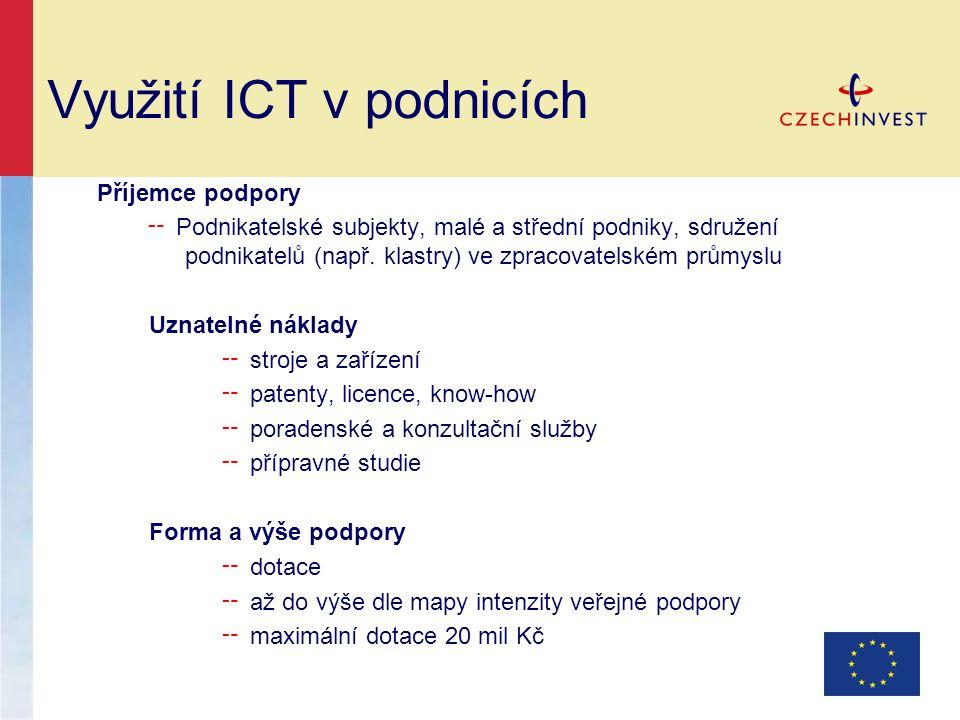 Využití ICT v podnicích Příjemce podpory ╌ Podnikatelské subjekty, malé a střední podniky, sdružení podnikatelů (např.