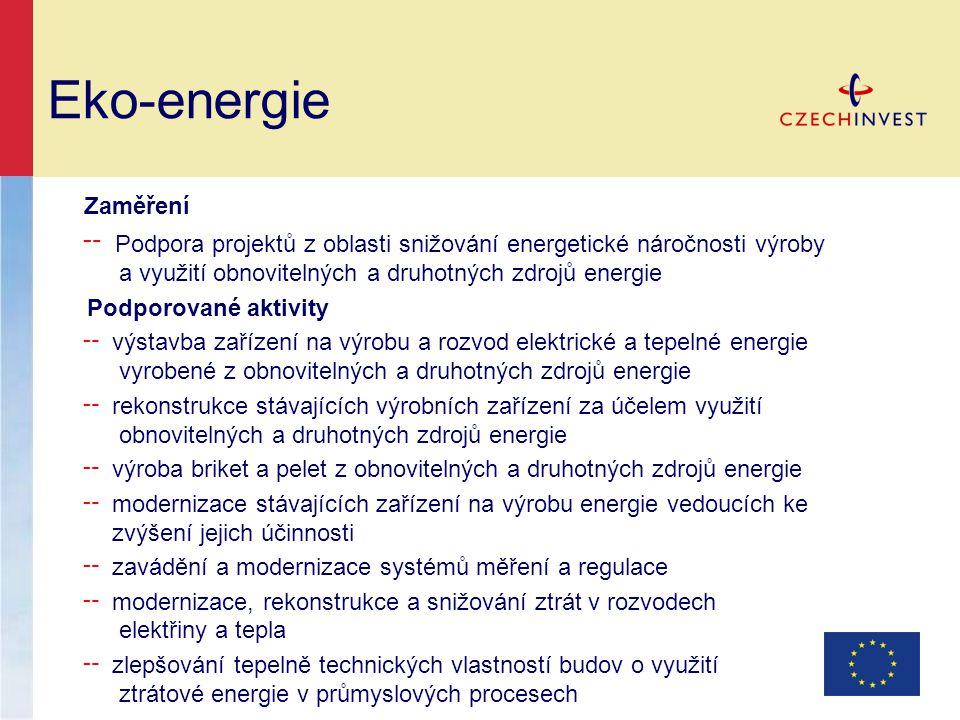 Eko-energie Zaměření ╌ Podpora projektů z oblasti snižování energetické náročnosti výroby a využití obnovitelných a druhotných zdrojů energie Podporované aktivity ╌ výstavba zařízení na výrobu a rozvod elektrické a tepelné energie vyrobené z obnovitelných a druhotných zdrojů energie ╌ rekonstrukce stávajících výrobních zařízení za účelem využití obnovitelných a druhotných zdrojů energie ╌ výroba briket a pelet z obnovitelných a druhotných zdrojů energie ╌ modernizace stávajících zařízení na výrobu energie vedoucích ke zvýšení jejich účinnosti ╌ zavádění a modernizace systémů měření a regulace ╌ modernizace, rekonstrukce a snižování ztrát v rozvodech elektřiny a tepla ╌ zlepšování tepelně technických vlastností budov o využití ztrátové energie v průmyslových procesech