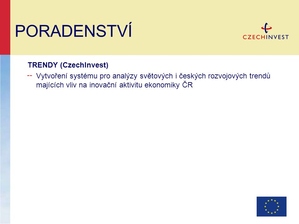 PORADENSTVÍ TRENDY (CzechInvest) ╌ Vytvoření systému pro analýzy světových i českých rozvojových trendů majících vliv na inovační aktivitu ekonomiky ČR