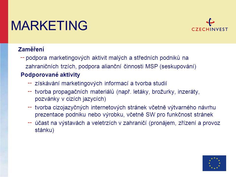 Zaměření ╌ podpora marketingových aktivit malých a středních podniků na zahraničních trzích, podpora alianční činnosti MSP (seskupování) Podporované aktivity ╌ získávání marketingových informací a tvorba studií ╌ tvorba propagačních materiálů (např.