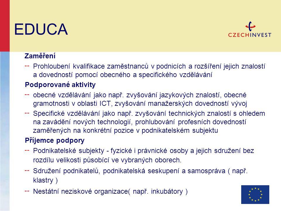 EDUCA Zaměření ╌ Prohloubení kvalifikace zaměstnanců v podnicích a rozšíření jejich znalostí a dovedností pomocí obecného a specifického vzdělávání Podporované aktivity ╌ obecné vzdělávání jako např.