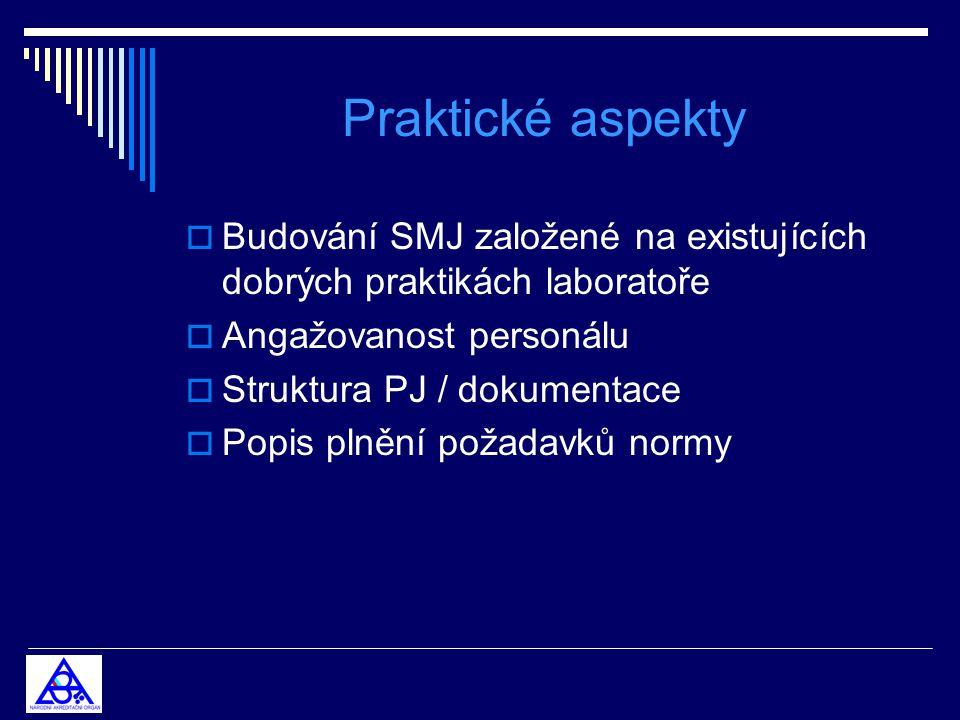 Praktické aspekty  Budování SMJ založené na existujících dobrých praktikách laboratoře  Angažovanost personálu  Struktura PJ / dokumentace  Popis plnění požadavků normy