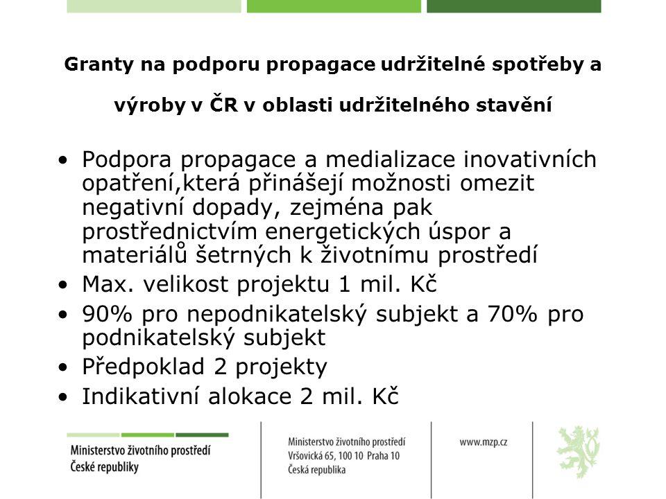 Granty na podporu propagace udržitelné spotřeby a výroby v ČR v oblasti udržitelného stavění Podpora propagace a medializace inovativních opatření,která přinášejí možnosti omezit negativní dopady, zejména pak prostřednictvím energetických úspor a materiálů šetrných k životnímu prostředí Max.