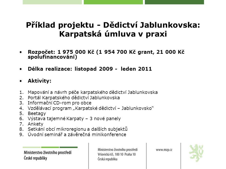 """Příklad projektu - Dědictví Jablunkovska: Karpatská úmluva v praxi Rozpočet: 1 975 000 Kč (1 954 700 Kč grant, 21 000 Kč spolufinancování) Délka realizace: listopad 2009 - leden 2011 Aktivity: 1.Mapování a návrh péče karpatského dědictví Jablunkovska 2.Portál Karpatského dědictví Jablunkovska 3.Informační CD-rom pro obce 4.Vzdělávací program """"Karpatské dědictví – Jablunkovsko 5.Beetagy 6.Výstava tajemné Karpaty – 3 nové panely 7.Ankety 8.Setkání obcí mikroregionu a dalších subjektů 9.Úvodní seminář a závěrečná minikonference"""