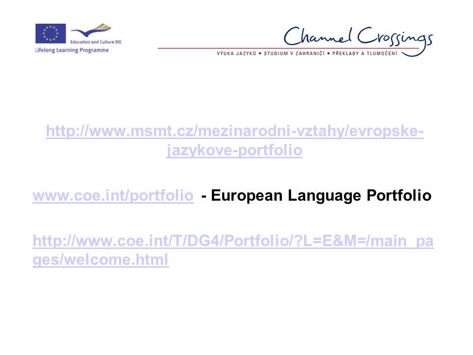 http://www.msmt.cz/mezinarodni-vztahy/evropske- jazykove-portfolio www.coe.int/portfoliowww.coe.int/portfolio - European Language Portfolio http://www.coe.int/T/DG4/Portfolio/ L=E&M=/main_pa ges/welcome.html