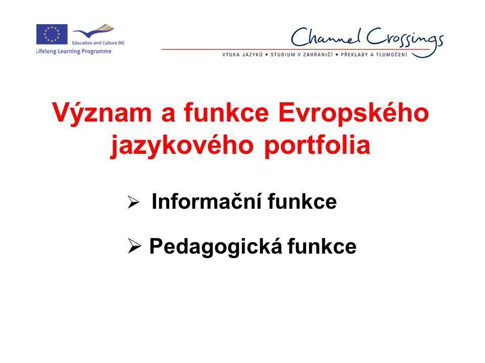 Různé typy jazykových portfolií v Evropské unii