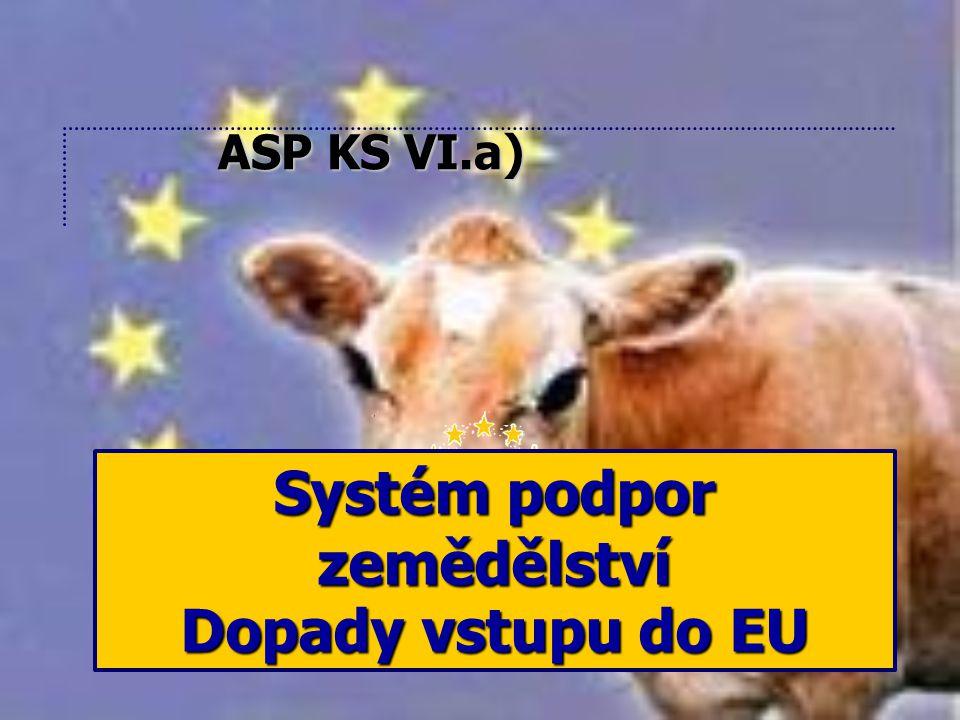 Systém podpor zemědělství Dopady vstupu do EU ASP KS VI.a)